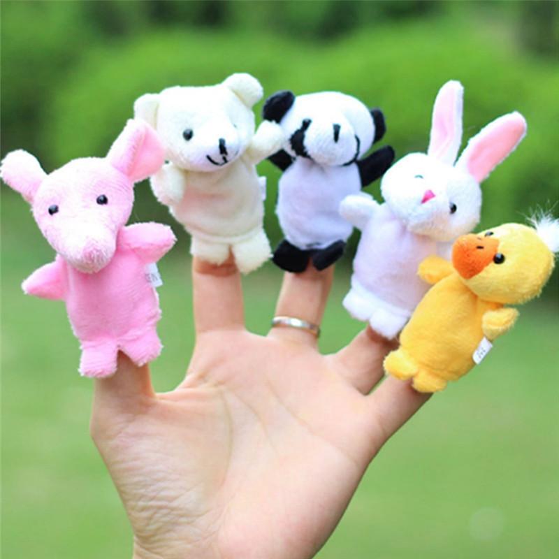 Plush Toys Happy Family Fun Cartoon Animal Finger Puppet