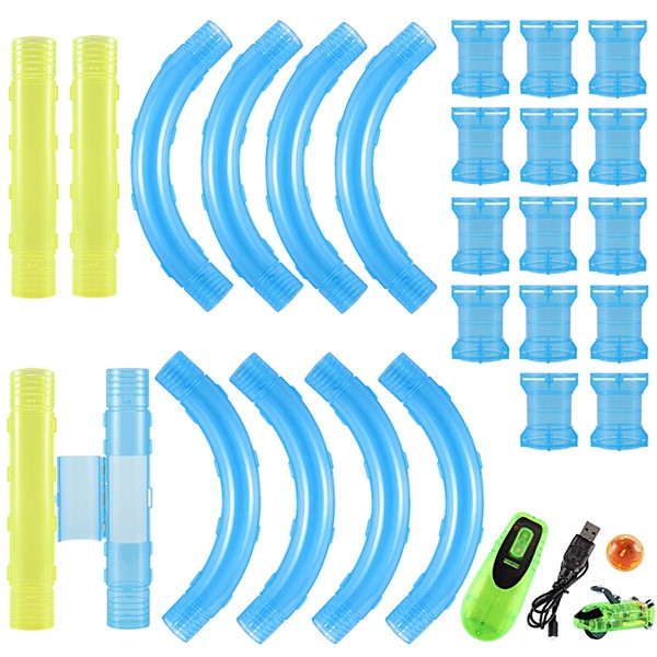 Speed Pipes Car Toy Pack Race Track DIY Building Remote Control Flash Light