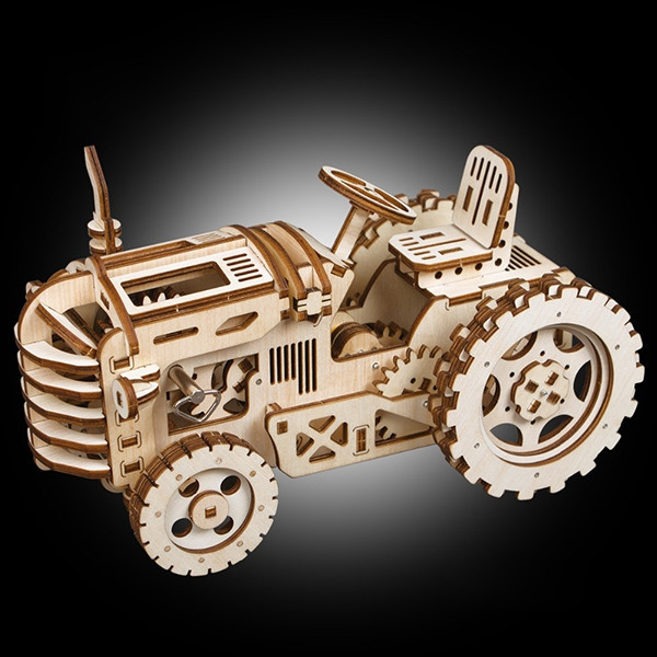 Robotime DIY Gear Drive Tractor 3D Wooden Model Building Blocks Set Toys