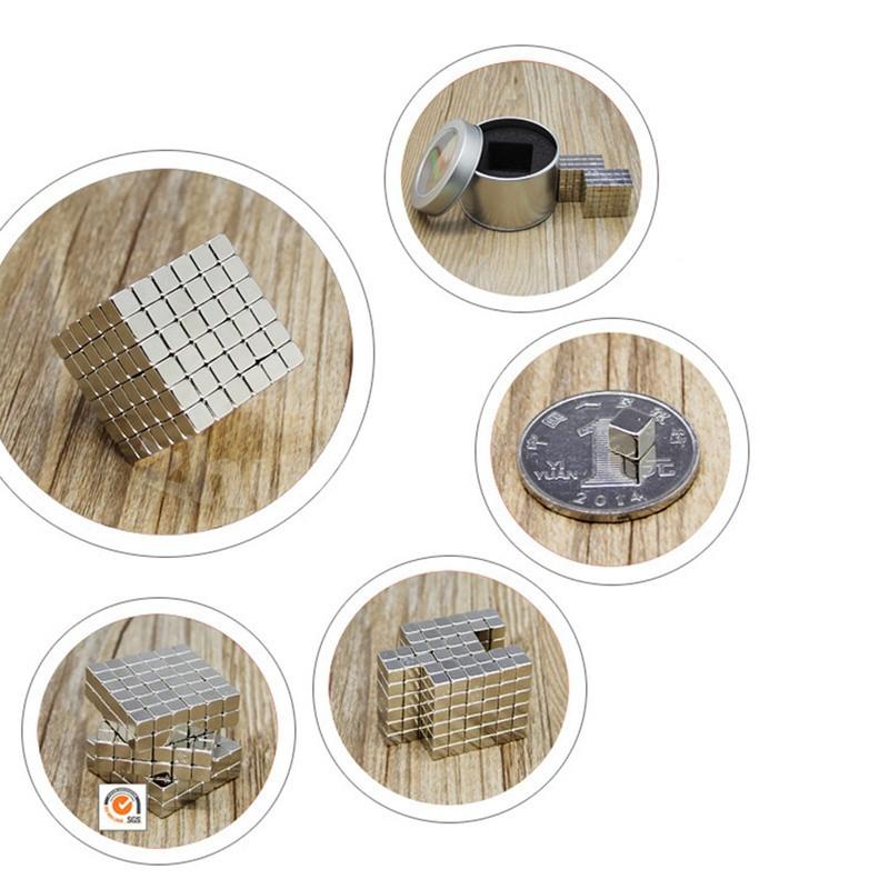 216 Pcs/4mm Neodymium Neocube Cube Fun Powerful Square Magnets ( Color: Silver)