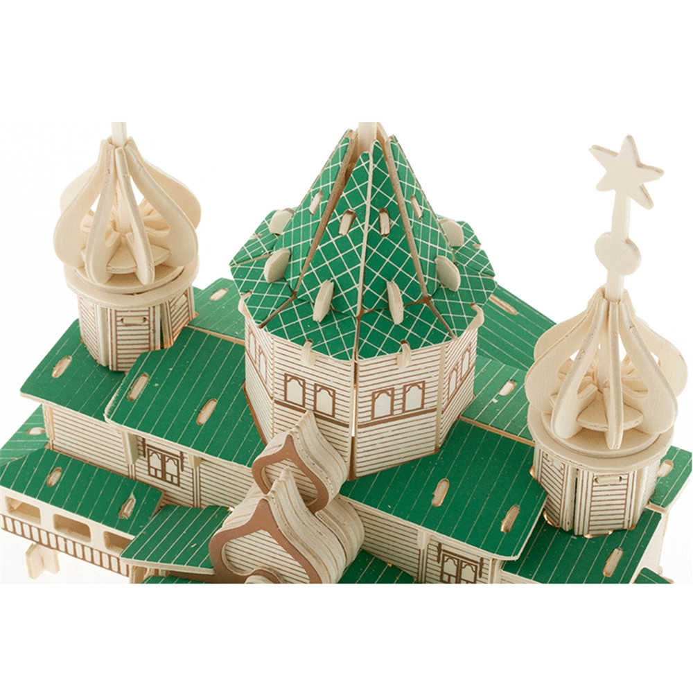 Wooden Puzzles Christmas House Model Assembling Building Kits