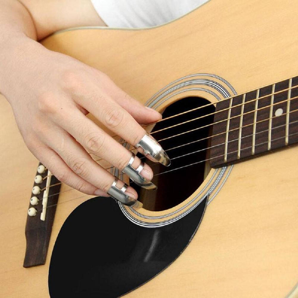 3PCS Sliver Adjustable Stainless Steel Guitar Pick Finger Protection Guard