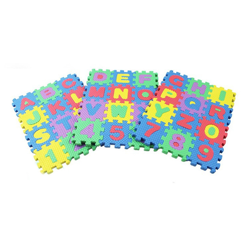 36pcs/Set Children Alphabet Letters Numerals Puzzle Colourful Kid
