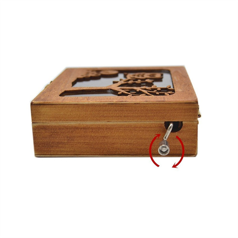 Wooden Animal Pattern Hand Cranked Jewelry Music Box