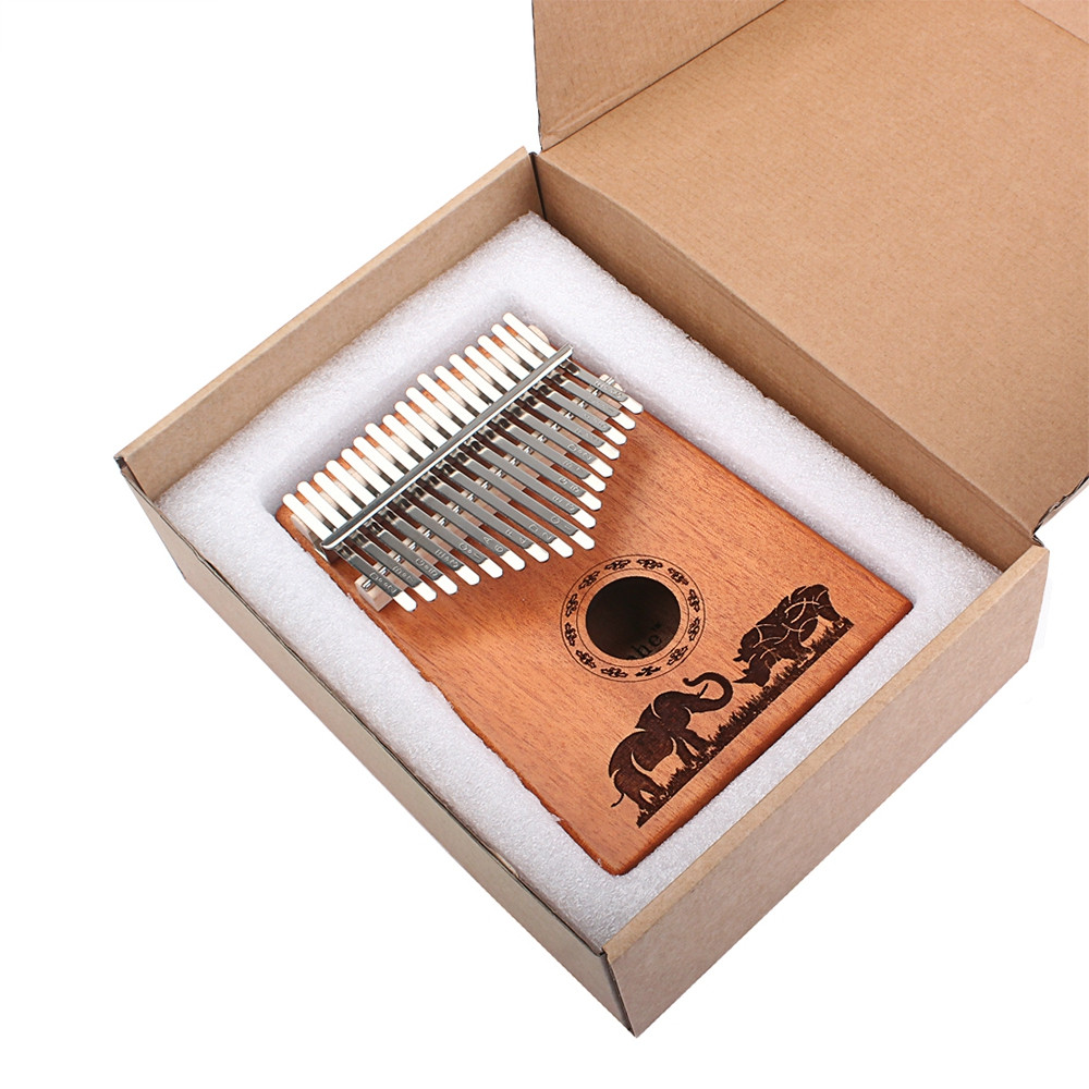 17 Key Mahogany Kalimba Finger Thumb Piano Mbira Gift Craft Brown