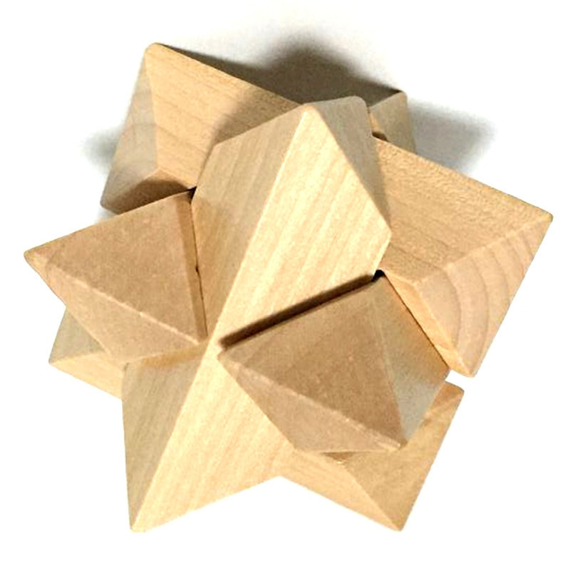 3D Interlocking Wooden Burr Ming Brain Puzzle Cube