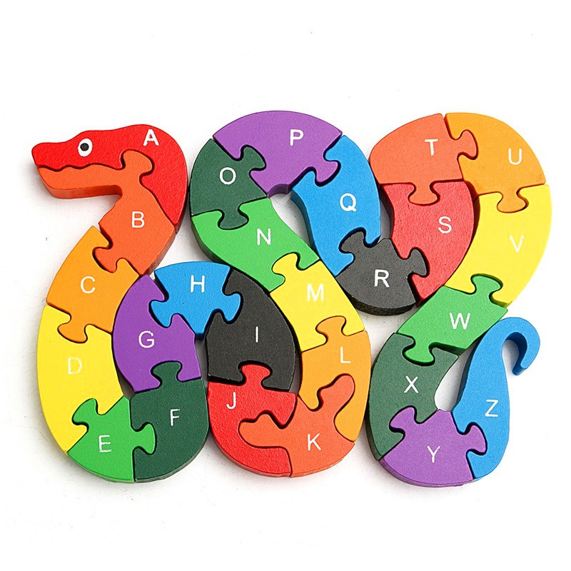 Children Wooden Block Toy Alphabet Number Building Jigsaw Puzzle Snake Shape
