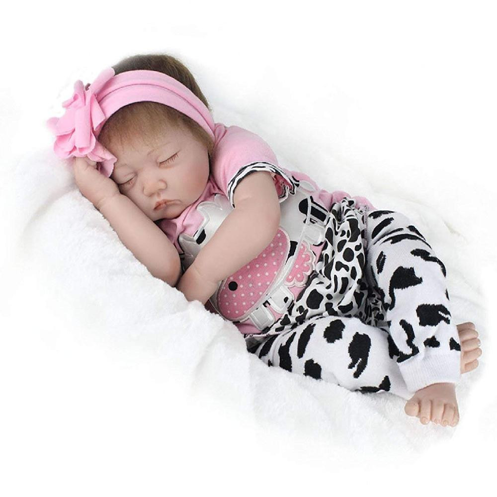 22in Reborn HandmadeBaby Doll Girl Newborn Lifelike Soft Silicone Vinyl Sleeping