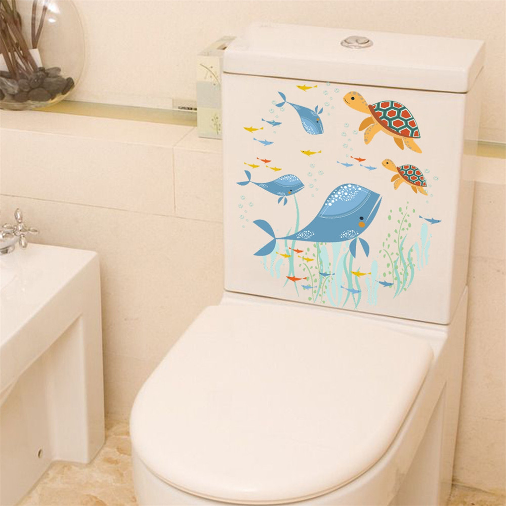 Marine World Seaweed and Whale Toilet Sticker Removable Home Decal