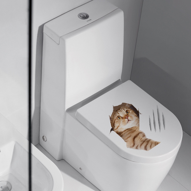 Cute Cat Toilet Fridge PVC Wall Sticker
