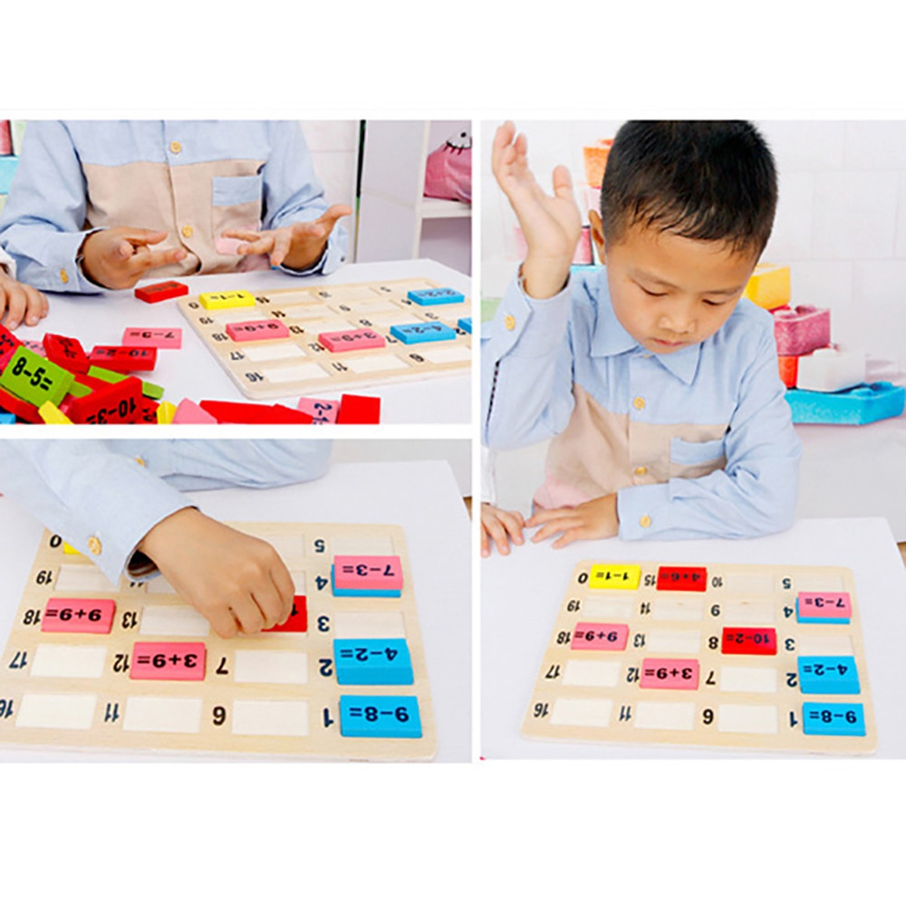 Wooden Children Digital Computing Early Education Puzzle Building Block Toy