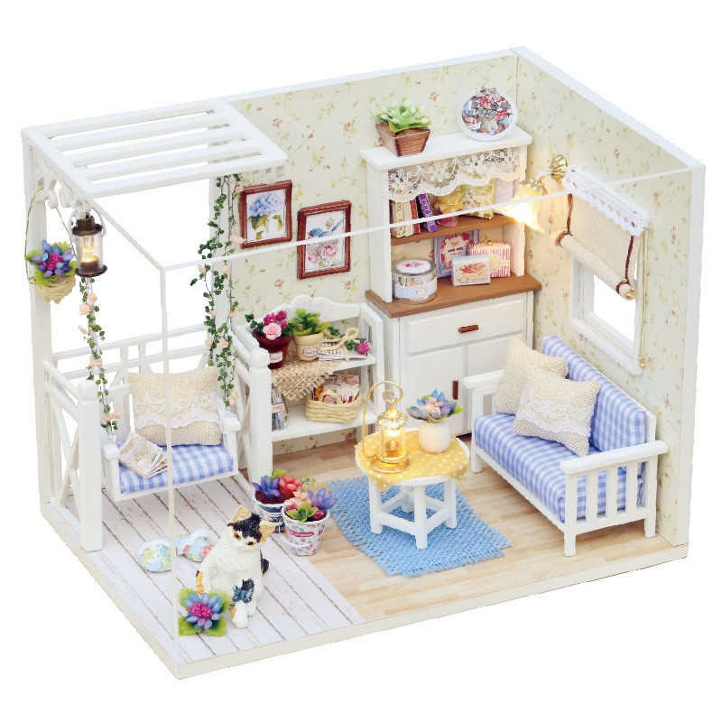 DIY Dollhouse Wooden Miniature Furniture Kit Mini Green House with LED Best Gift