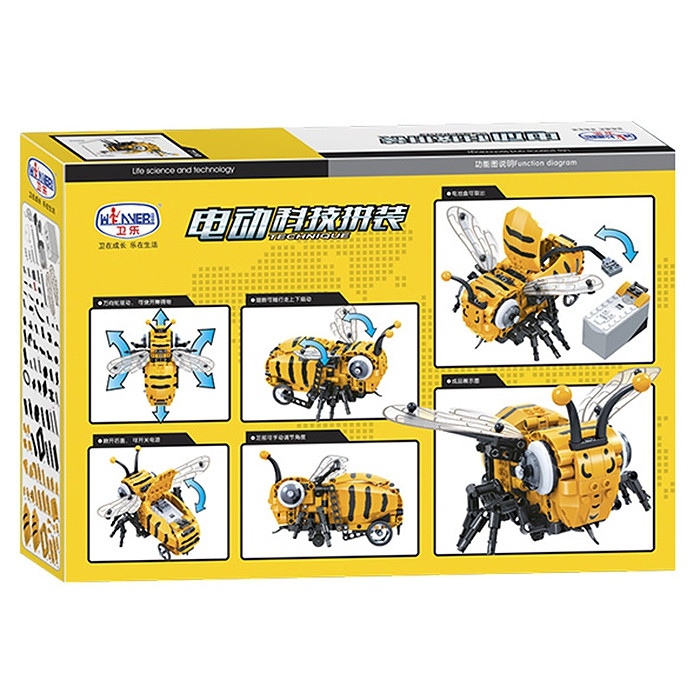 7110 Electric Bee Imitating Crawling Posture Automatic Obstacle Avoidance Assembling Blocks 285PCS