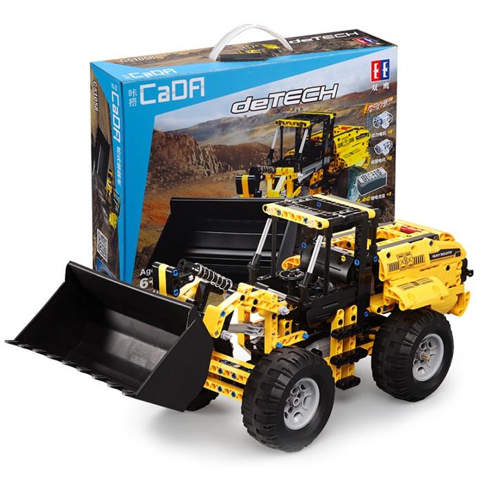 CaDA Building Block Remote Control Crawler Excavator Big Crane Mixer Truck Bulldozer Boy Spelling Toy
