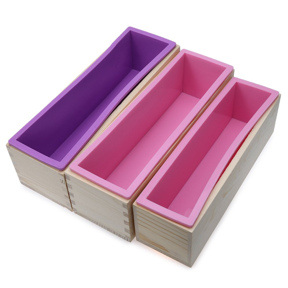 900g Rectangle Silicone Soap Loaf Mold Wooden Box DIY Making Tools