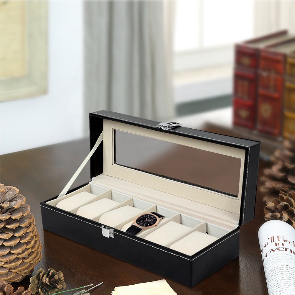 6-position Leather Portable Watch Storage Box