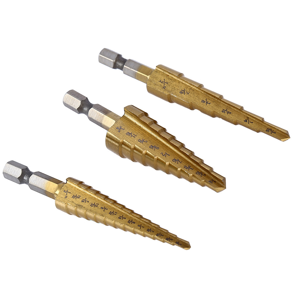 3pcs HSS 6541 Hex Shank Step Cone Drill Bit Set Titanium Coated Hole Cutter