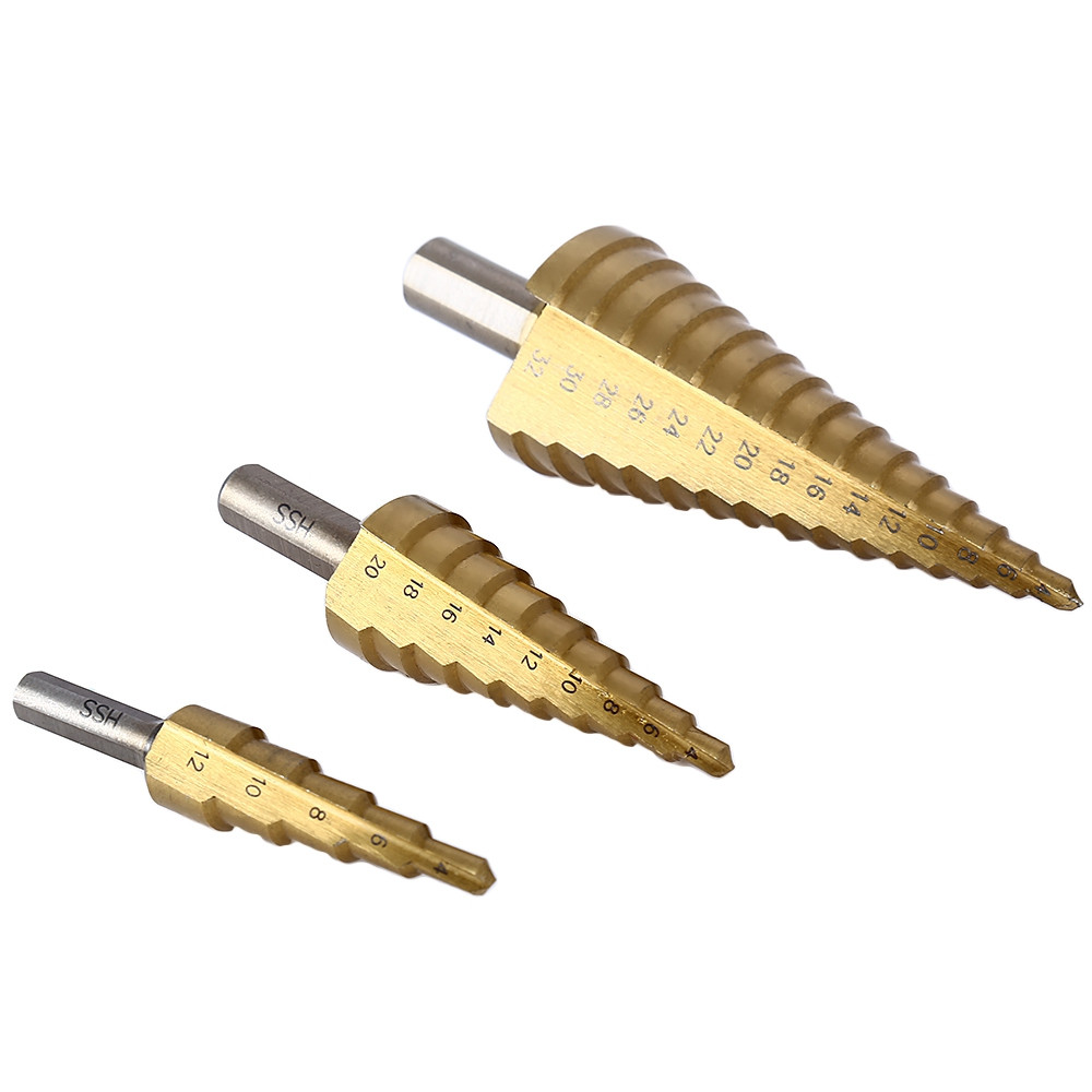3pcs HSS 4241 Step Cone Drill Bit Set Triangle Shank Titanium Coated Hole Cutter