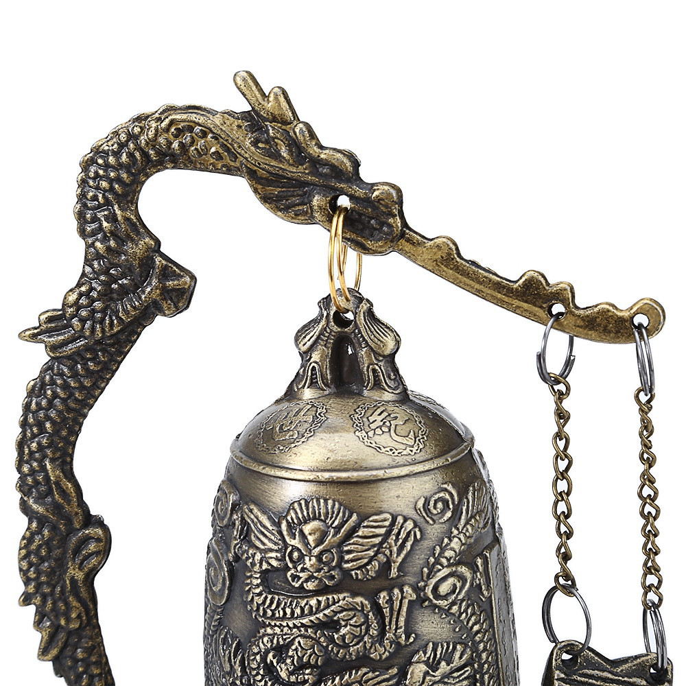 Zinc Alloy Vintage Style Bronze Lock Dragon Carved Buddhist Bell Chinese Geomantic Artware Exquisite Home Decor