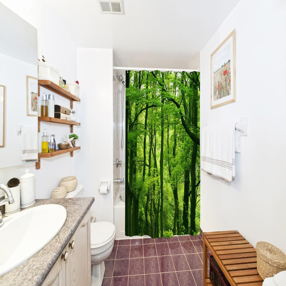 Green Forest Water-Proof Polyester 3D Printing Bathroom Shower Curtain