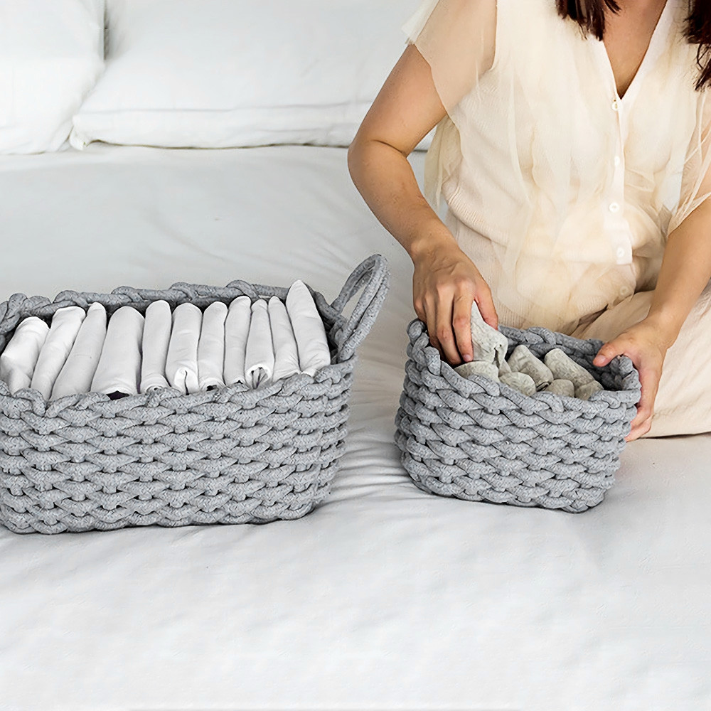 Hand-knitted Cotton Rope Storage Box Snack Key Baby Toy Basket