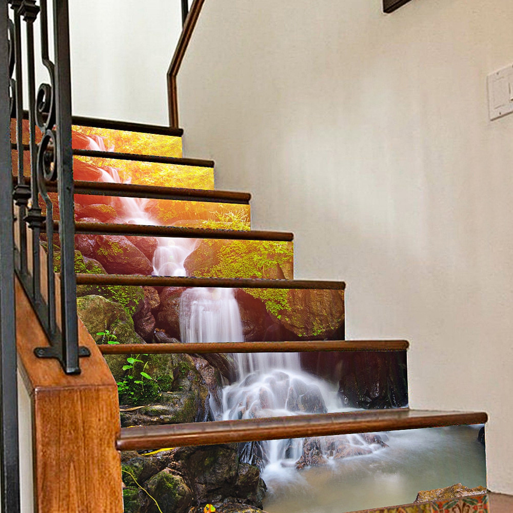 3D Waterfall Stair Stickers Home Decor 7.1 x 39.4 inch 6pcs