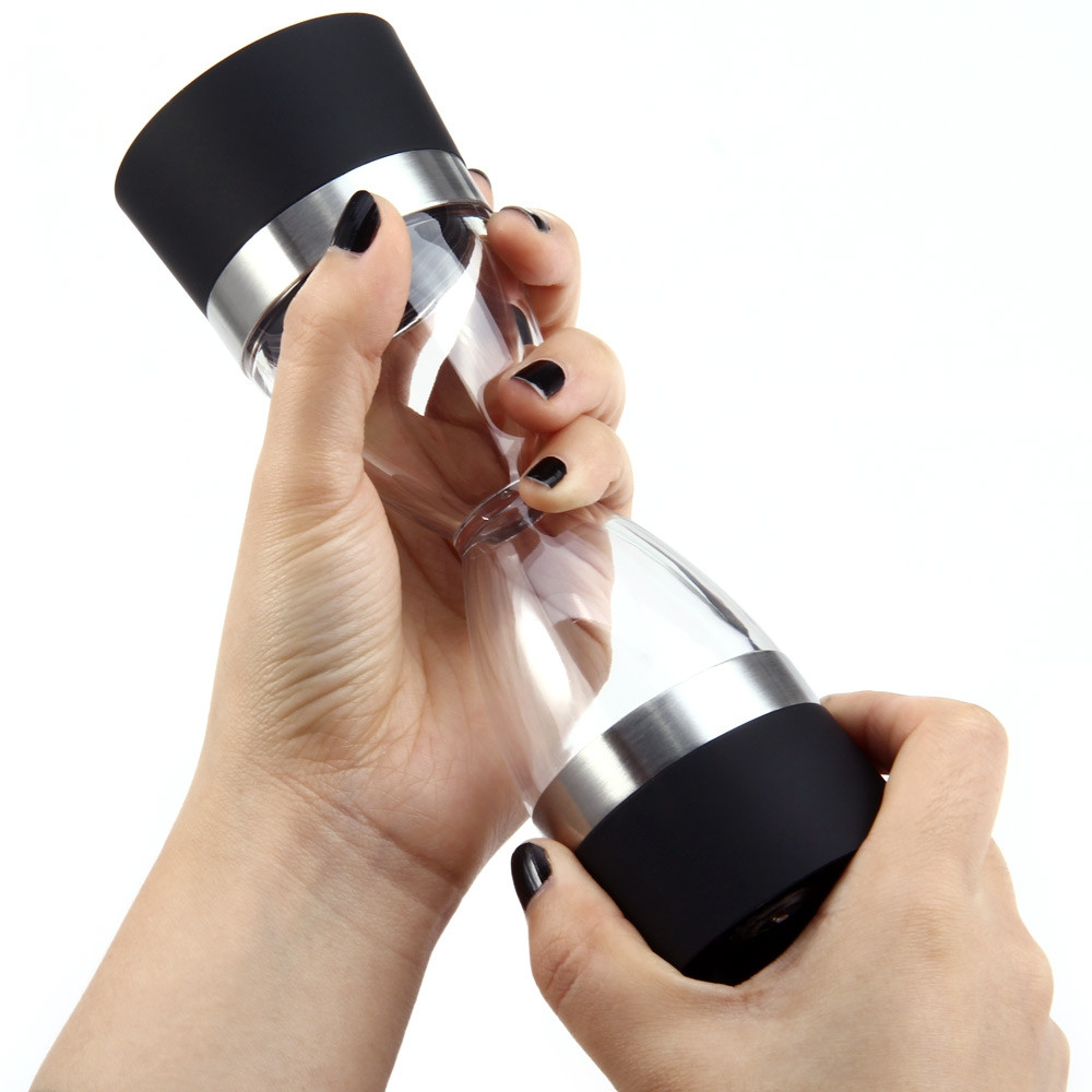 2 in 1 Manual Pepper Shaker Salt Spice Mill Grinder Hourglass Design