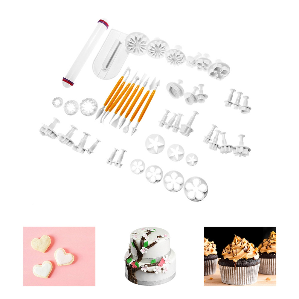 46pcs Flower Fondant Cake Decorating Kit Cookie Mold Icing Plunger Cutter Tools