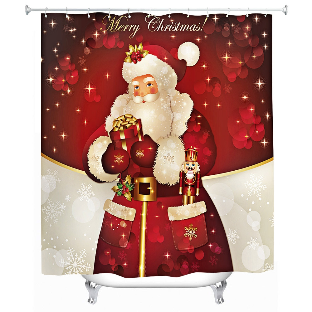 180 x 180cm Santa Claus 3D Printing Shower Curtain
