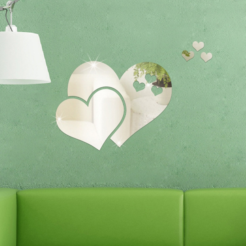 PMMA Hearts Shape Diy Mirror Wall Stickers Home Wall Decoration 5pcs