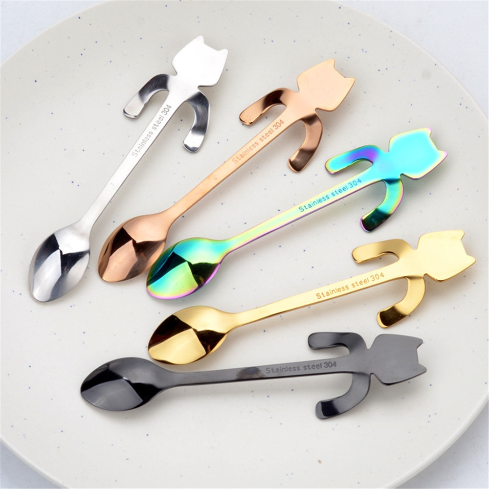 1PCS Stainless Steel Cartoon Cat Spoon Creative Coffee Spoon Ice Cream Candy Teaspoon Kitchen Supplies Tableware 5 Color