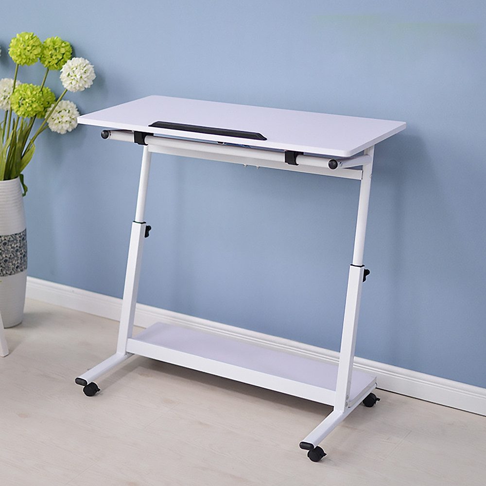 Portable Laptop Cart Rolling Table Tiltable Mobile Stand Desk