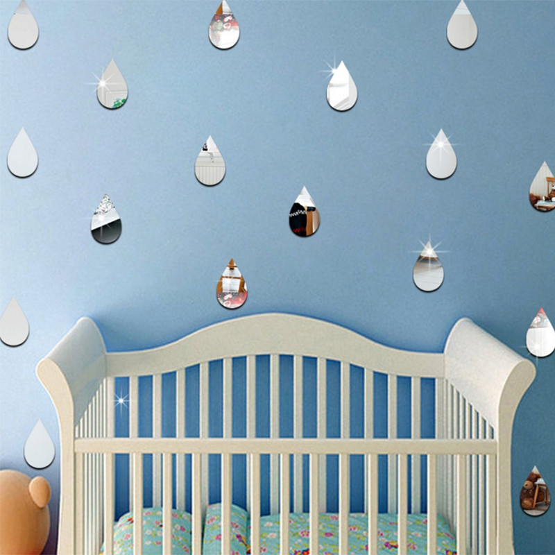 22Pcs Rain Drop Mirror Wall Stickers for Home Wall Decoration