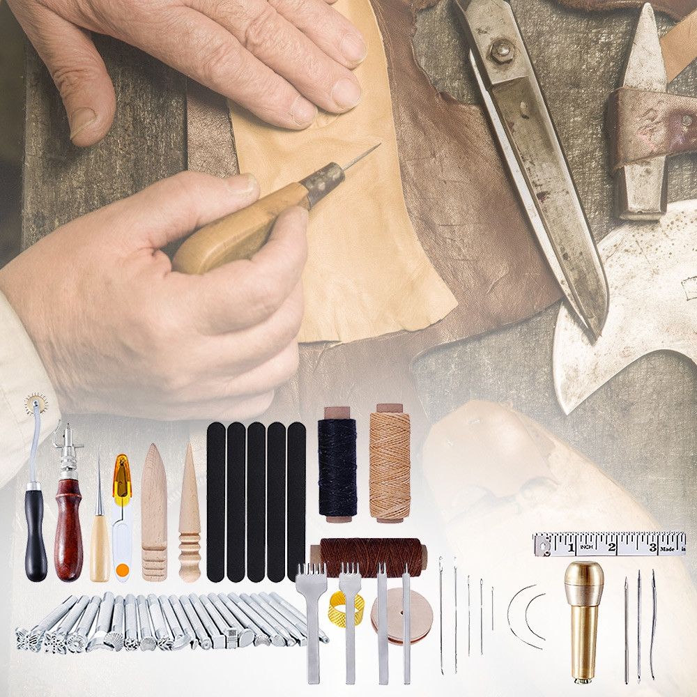 59pcs Leather Craft Tools Hand Sewing Punch Stitching Carving Work
