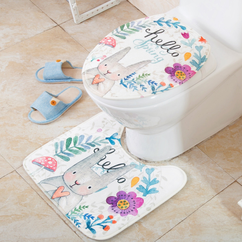 2 PCS Floor Mat Toilet Seat Decoration Pad
