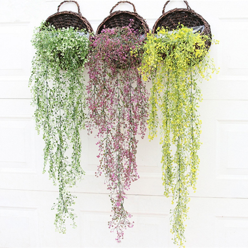 110CM Artificial Plant Rattan Hanging Basket Flower Artificial Flower