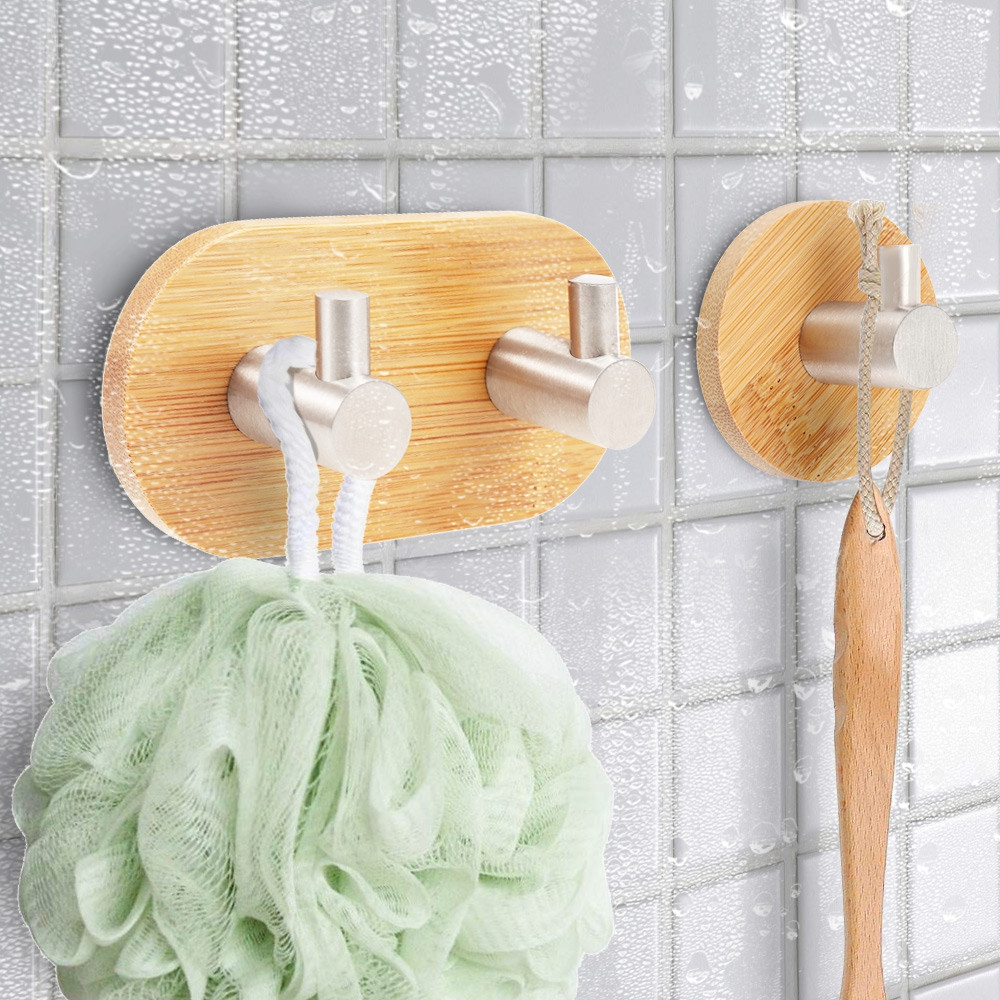 Wall Mounted Bamboo Wooden Coat Hook Rack