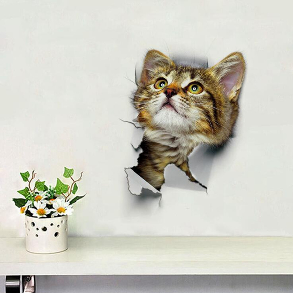 3D Cats Wall Sticker Hole View Bathroom Living Room Decoration Home Decor