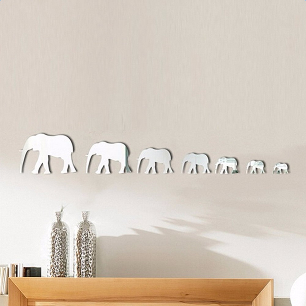7 Elephants Acrylic Mirror Stickers 3D Home Wall Decoration