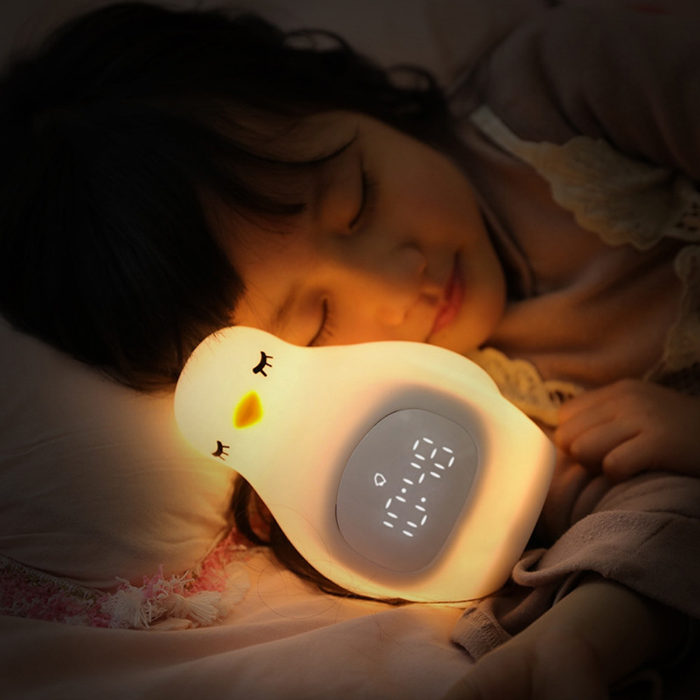 A LED Night Light Penguin Outlook Alarm Clock Silicone Cute Lamp for Children