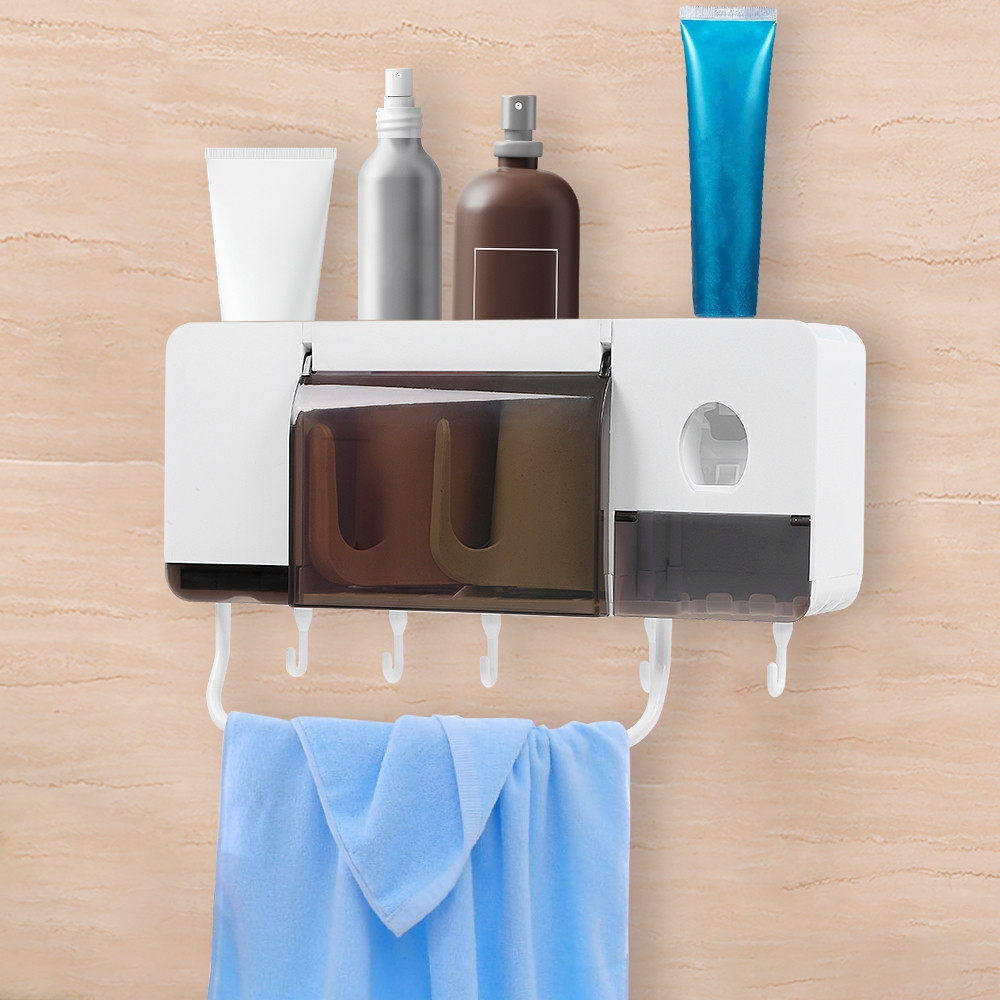 Wall Mounted Toothbrush Holder Automatic Toothpaste Dispenser Bathroom Shelf