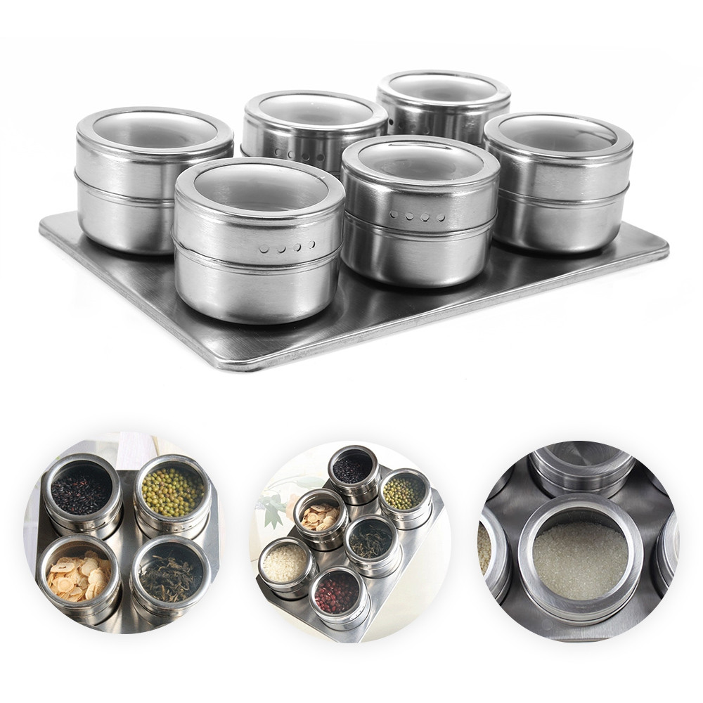 6pcs Stainless Steel Magnetic Seasoning Bottle