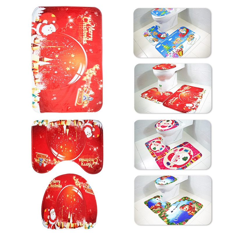 3pcs Toilet Mat Bath Mat Santa Claus Pattern
