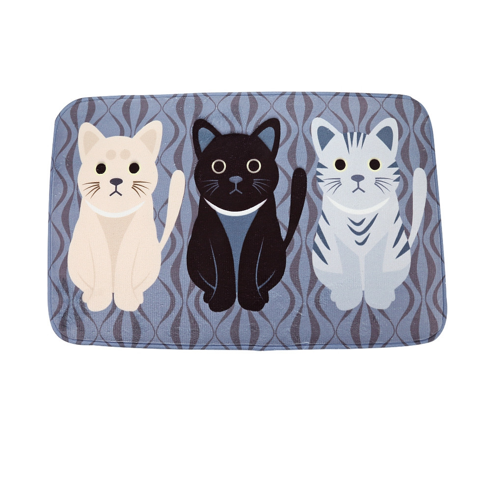 Cat Non-Slip Rug Carpet Bathroom Kitchen Doormats Map