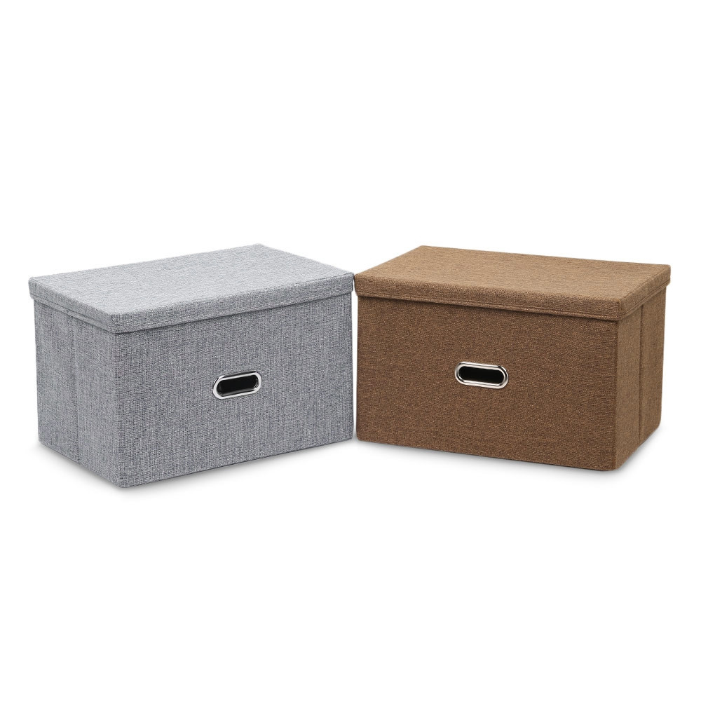 Linen Fabric Foldable Basket Cube Organizer Storage Bin Container with Lid