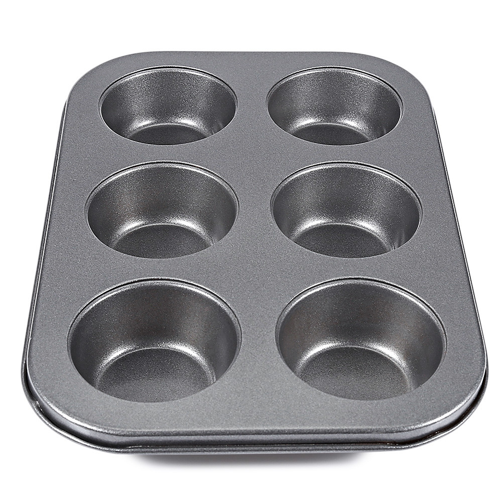 6 Cups Non-stick Steel Muffin Cupcake Pan Egg Tart Mold