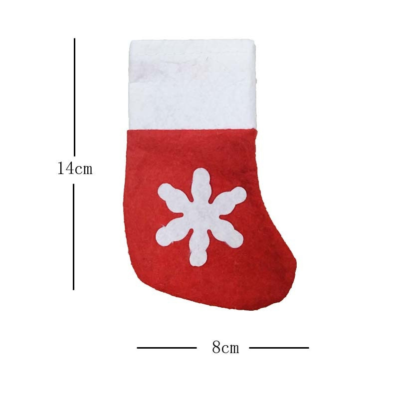 8pcs  Christmas Socks Knife and Fork Storage Bag Decoration