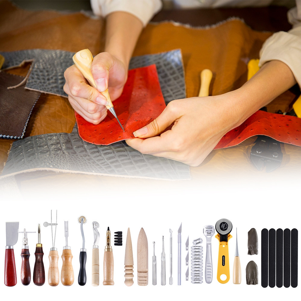 24pcs Leather Craft Tools Hand Sewing Stitching Punch Carving Work