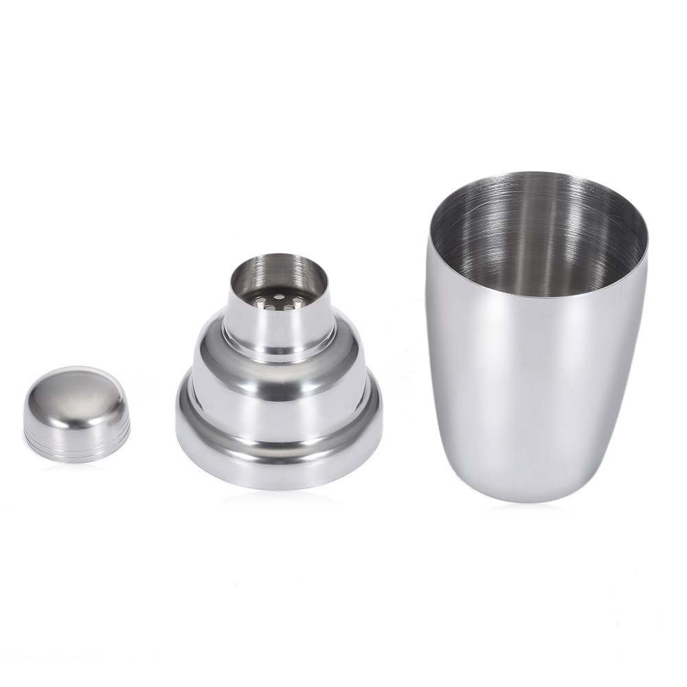 4pcs 350ML Stainless Steel Cocktail Shaker Set Mixing Spoon Measurer Ice Tong