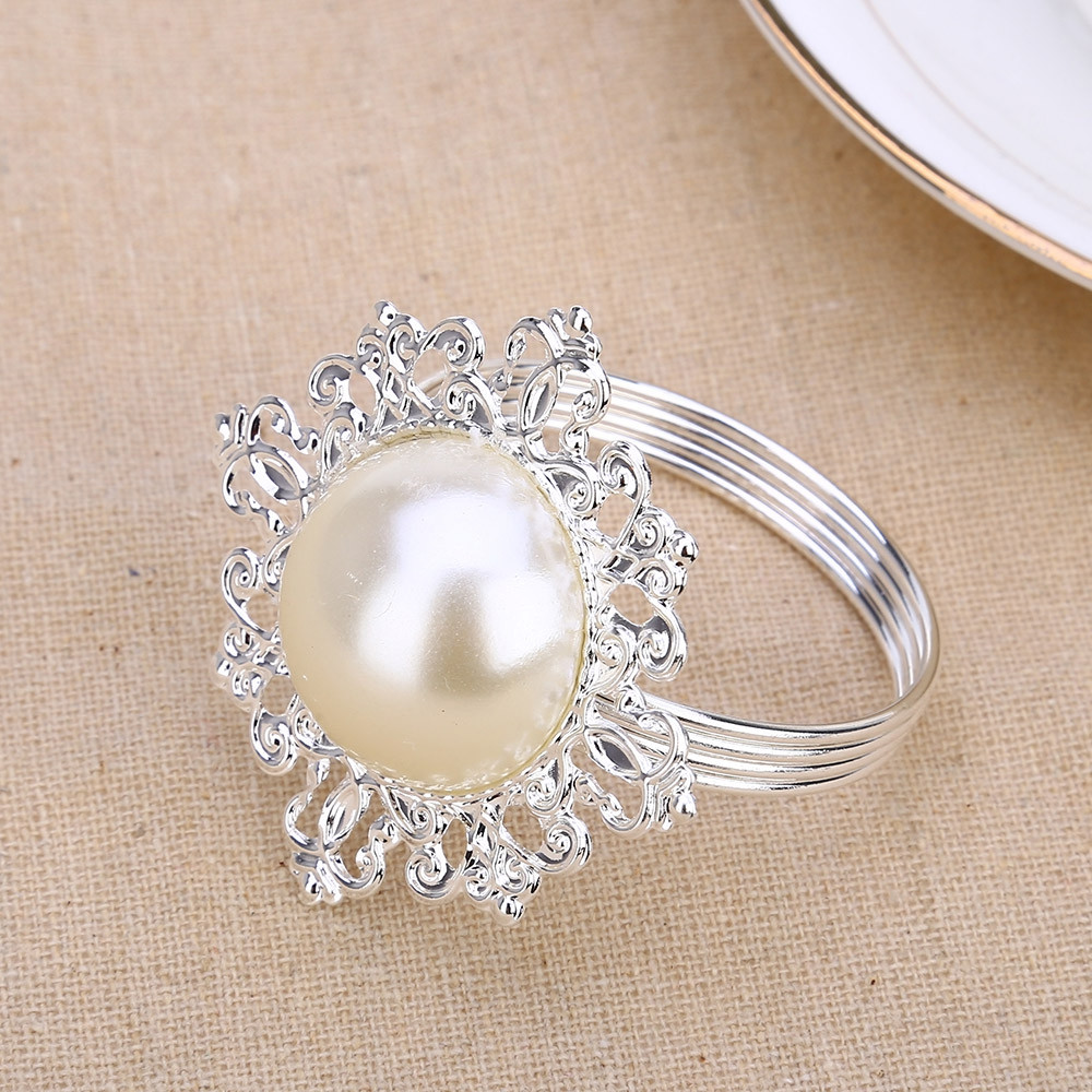 12pcs Pearl Napkin Ring Hotel Wedding Supply Decoration
